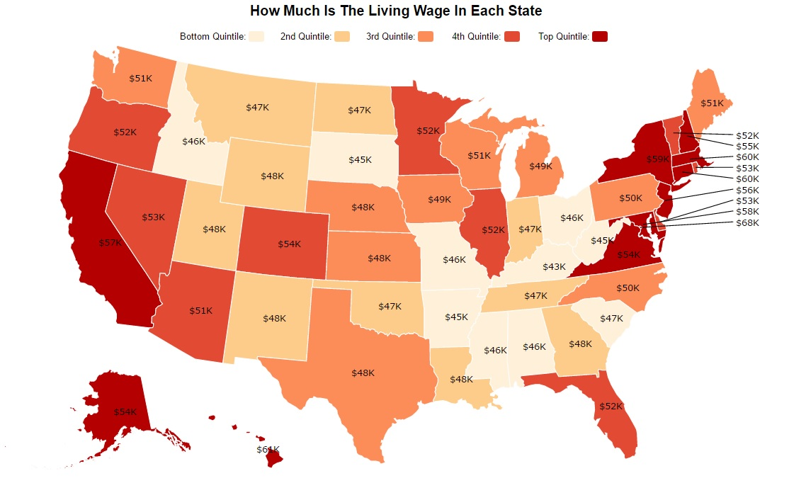 This Is How Much A Living Wage Is In Each State